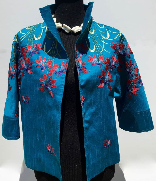 Silk w/ Embroidery Short Jacket