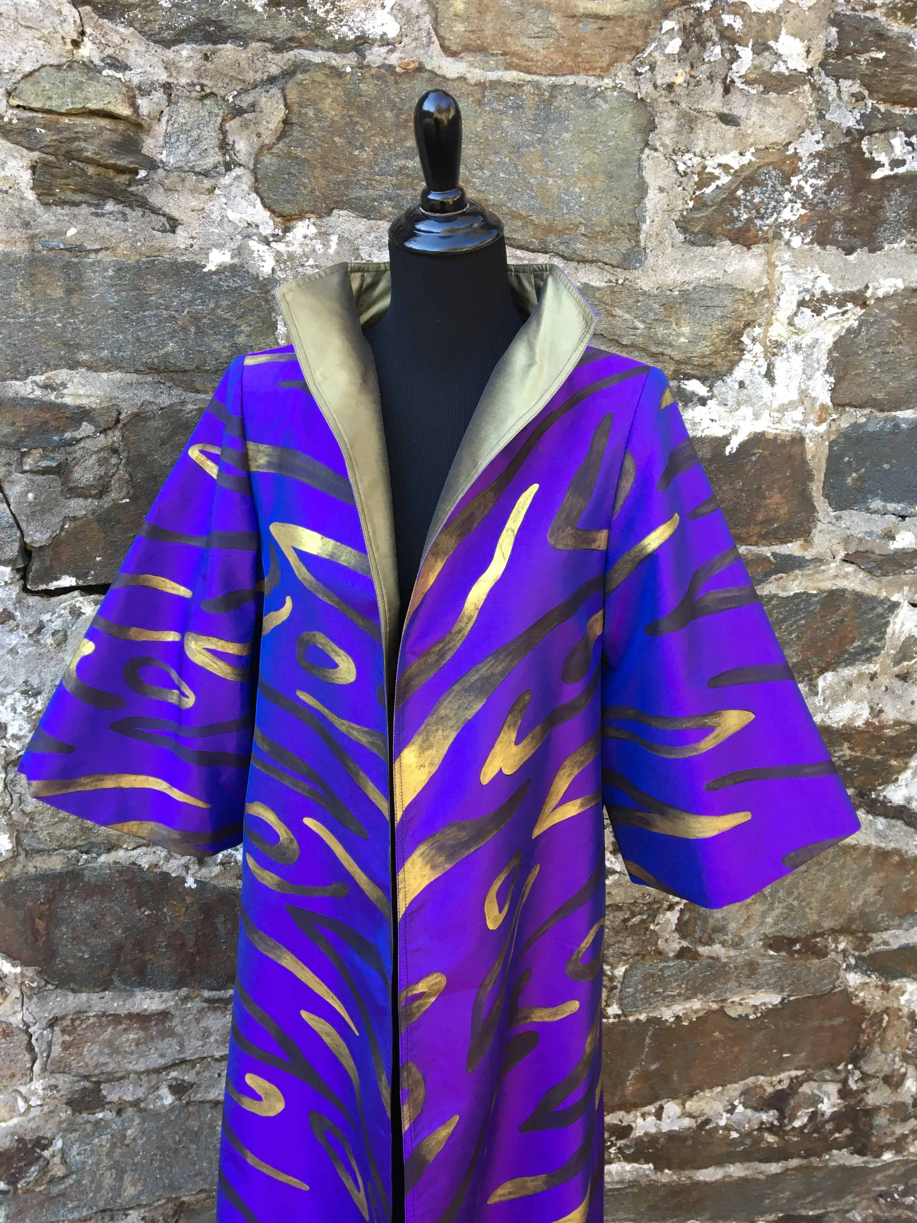 Handpainted Thai silk coat, Cashmere and Pearls