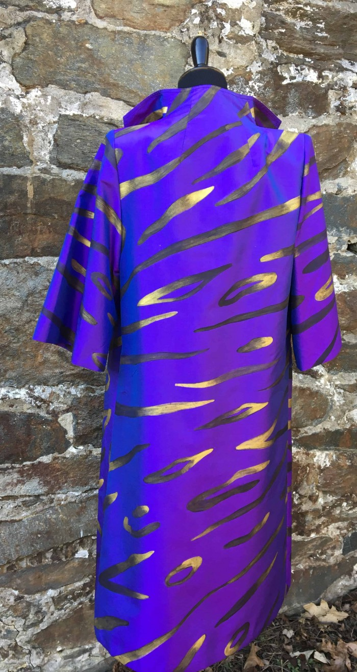Hand painted pure Thai silk coat for Cashmere and Pearls