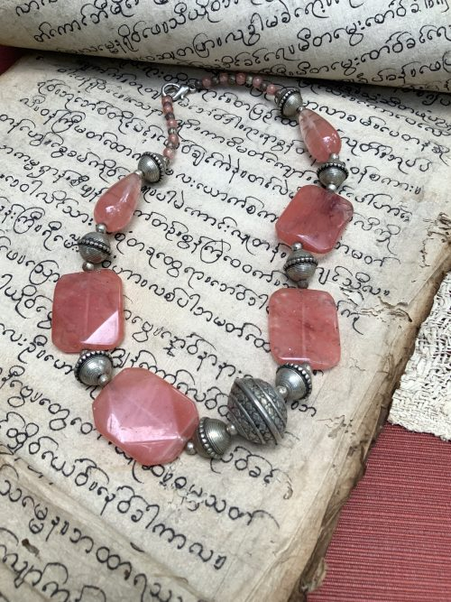Ruby/Pink Crystal Necklace