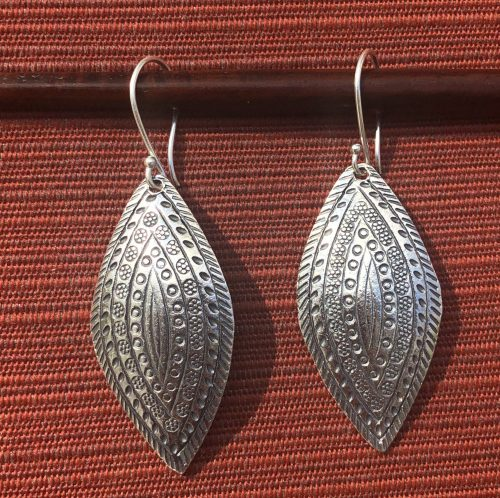 Ceremonial Leaf-Hill Tribe Silver Earrings, by Cashmere and Pearls