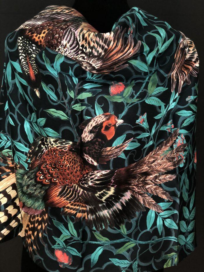 Phannapast illustrated silk scarf