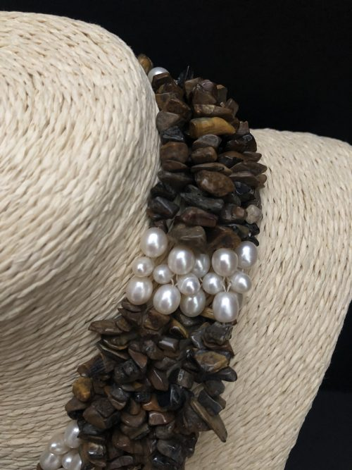 Tigereye and pearl necklace, by Cashmere and Pearls #cashmereandpearls