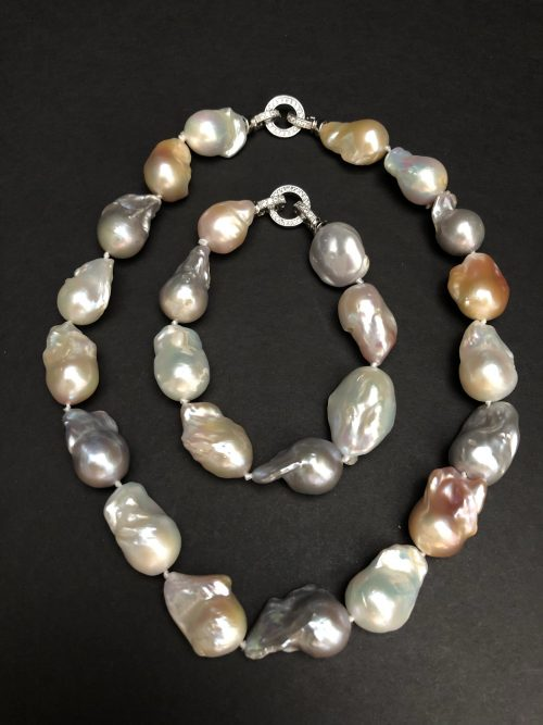 Baroque Pearl Necklace and Bracelet with Crystal Clad Clasp, by Cashmere and Pearls