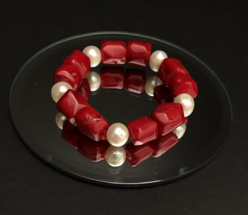 Pearls and Red Coral Bracelet, by Cashmere and Pearls